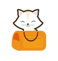 white cat stripes closed eyes yellow pet carrier vector image