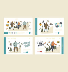 winter hiking landing page template set vector image