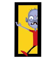 Zombie at door on white background vector