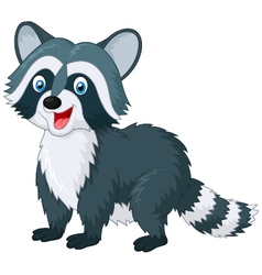 Cartoon cute raccoon on white background vector image vector image