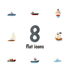 flat icon boat set of tanker yacht vessel and vector image vector image