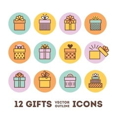 Gifts outline icons set for celebrating card vector image