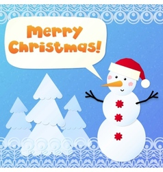 Paper snowman with sign Merry Christmas vector image vector image