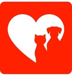red sign with pet and heart vector image vector image