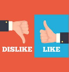 like and dislike hands vector image vector image