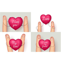 fingers holding red love heart vector image vector image