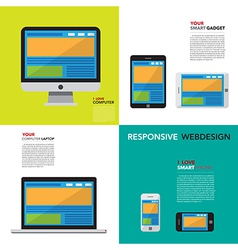 Responsive webdesign on Computer Smartphone and T vector image vector image