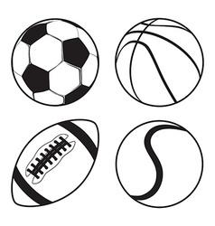 Set of Sports balls Soccer Basketball American vector image