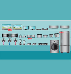 Electronics store interior vector