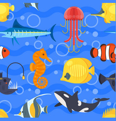 flat style seamless pattern with exotic fish vector image vector image