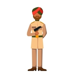 Indian troop armed forces man with weapon vector image