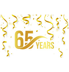 isolated golden color number 65 with word years vector image