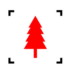 new year tree sign red icon inside black vector image