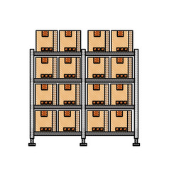 shelf with carton boxes warehouse storage vector image