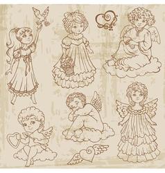 Vintage Angels Dolls Babys vector image vector image