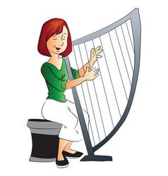 woman playing harp vector image vector image