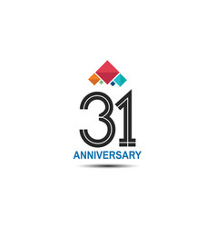 31 anniversary logotype with colorful crown vector
