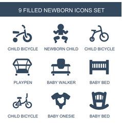 9 newborn icons vector