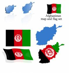 Afghanistan map and flag set vector