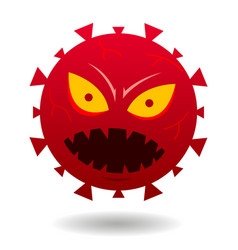 angry red virus face cartoon image vector image
