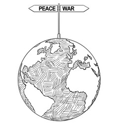 Artistic drawing of world globe with peace or war vector