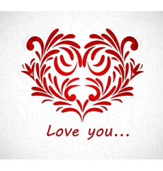 Background with floral heart vector image