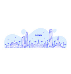bangkok skyline thailand big city buildings vector image