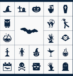 bat icon halloween set simple sign vector image