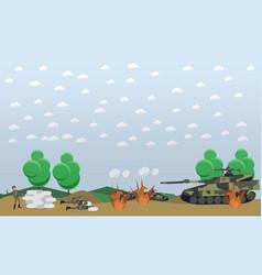 battlefield concept in flat vector image