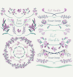 Big collection of floral design elements dividers vector