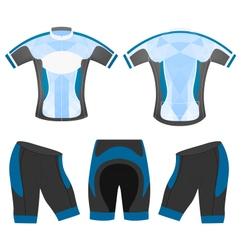 Blue low poly cycling vest vector