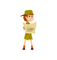 Boy scout character in uniform holding tourist map vector