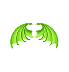 bright green dragon wings attribute of kids vector image