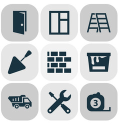 Building icons set collection of glass frame vector