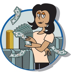 Business lady money vector image vector image