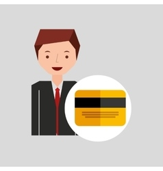 business man cartoon and credit card vector image