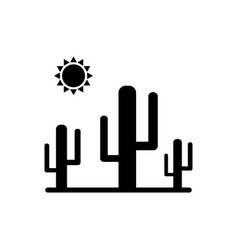 cactus icon with sun vector image