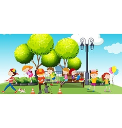Children hanging out at the park vector image
