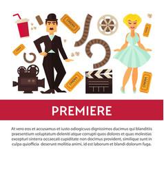 Cinema advertisement banner with symbolic vector