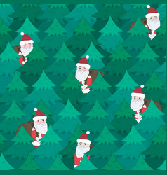 cute christmas pattern with santa in fir forest vector image