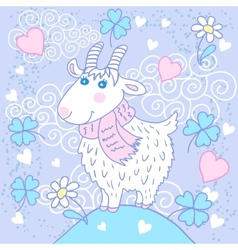 Cute goat on a meadow vector image