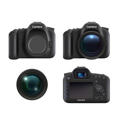 digital cameras realistic dslr photo camera for vector image
