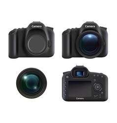 digital cameras realistic dslr photo camera vector image