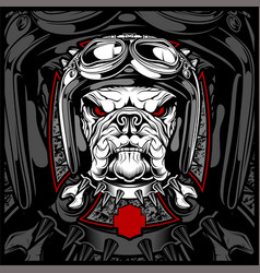 Dog bulldog wearing a motorcycle aero helmet hand vector