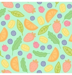 Doodle fruits and berries seamless pattern vector image