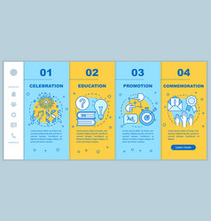 Event purposes onboarding mobile web pages vector