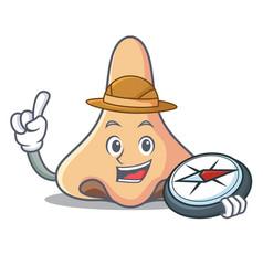 explorer nose mascot cartoon style vector image