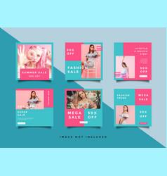Fashion social media promotion square design vector