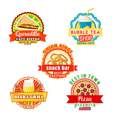 fast food street food snacks drinks icons vector image