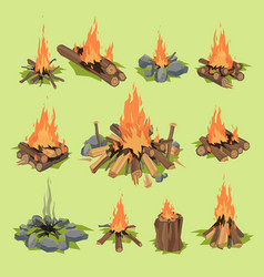 Fire flame or firewood outdoor travel bonfire vector
